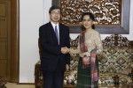 ADB President Takehiko Nakao shakes hands with State Counsellor Aung San Suu Kyi in Naypyidaw on 14 June 2016. (Photo: DVB)