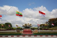 The flags of Burma and Singapore fly in Naypyidaw to greet visiting Singaporean Prime Minister Lee Hsien Loong on 7 June 2016. (Photo: Singapore's Ministry of Communications and Information)