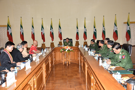 Senior General Min Aung Hlaing, the commander-in-chief of Burma's armed forces, speaks to leaders of NCA signatory groups on 29 June 2016. (Photo: Senior General Min Aung Hlaing / Facebook)