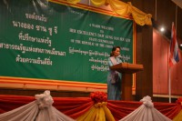 Aung San Suu Kyi makes her address to 300 migrant workers in Mahachai, Thailand. (Photo: DVB)