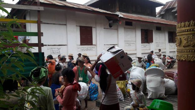 IDPs assemble in Hsipaw to be repatriated to their villages on 13 June 2016. (PHOTO: DVB)