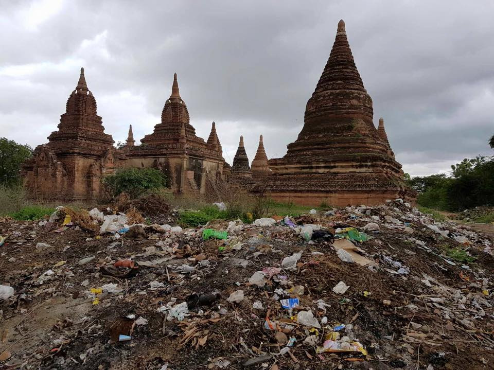 Tens of thousands of tourists means tons of litter. Trash strewn across a rubbish dump close to Bagan's historical temples. (PHOTO: Bagan Plastic Campaign)