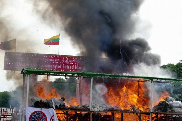 Narcotics being incinerated to mark the International Day against Drug Trafficking and Abuse on 26 June 2016. (PHOTO: DVB)