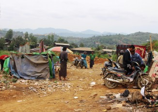 Jade miners gather to use drugs at a trash- and syringe-littered camp near the village of Sai Taung in Hpakant Township. (Photo: Htet Khaung Linn / Myanmar Now)