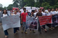Fellow students and other sympathisers hold a rally on behalf of 18-year-old Gun Seng Aung, who was shot dead by a soldier in disputed circumstances on 20 June 2016 in Myitkyina. (PHOTO: Kachin Waves)