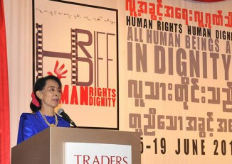 Aung San Suu Kyi speaks at the first Human Rights Human Dignity International Film Festival in 2013. (Photo: www.hrhdiff.org)