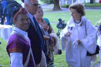 Queen Sonja of Norway, right, speaks to members of the founding committee of the Aung San Suu Kyi Park in Froland, Norway, on 29 June 2016. (Photo: Aung San Suu Kyi Park Norway / Facebook)