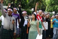 Protestors pictured outside the Palm Spring Resort Hotel in Myitkyina demonstrating against the Chinese ambassador's visit  on 4 June 2016. (PHOTO: KDNG)