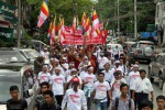 "In this file photo, protestors take to the streets of Rangoon in May 2015 to demand that Western media and international organisations stop using the term ""Rohingya"" to refer to a persecuted Muslim minority living in Arakan State. (Photo: DVB)"