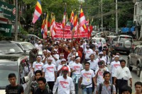 """In this file photo, protestors take to the streets of Rangoon in May 2015 to demand that Western media and international organisations stop using the term """"Rohingya"""" to refer to a persecuted Muslim minority living in Arakan State. (Photo: DVB)"""