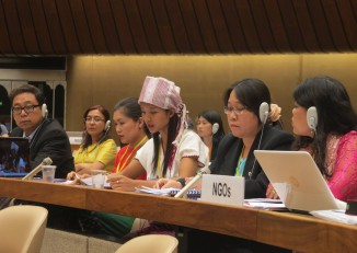 Hser Hser of the Women's League of Burma presents an oral statement to the CEDAW committee in Geneva. (Photo: WLB / Facebook)