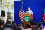 Deputy national security advisor Ben Rhodes speaks to students and journalists at Rangoon University on 20 July 2016. (Photo: US Embassy Rangoon)