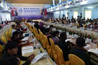 Representatives of 17 of Burma's main ethnic armed groups attend the second day of their plenary meeting in the Kachin State town of Maijayang. (Photo: DVB)