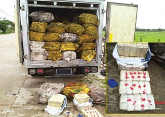 A truckload of methamphetamine tablets discovered in an industrial compound in Rangoon's Mingaladon Township in July 2015 is displayed by police. (Photo: Ministry of Information)