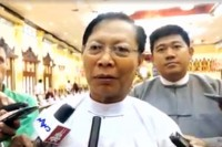 Religious Affairs Minister Thura Aung Ko speaks to reporters following a meeting of senior monks on 14 July 2016. (Photo: DVB)