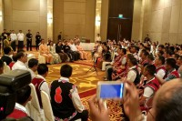 State Counsellor Aung San Suu Kyi, standing, far left, speaks to UWSA and NDAA representatives in Naypyidaw on 29 July 2016. (Photo: DVB)