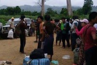 Residents of Kamaing Township in Kachin State flee clashes between government troops and the KIA. (Photo: DVB)