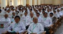 Ex-president Thein Sein (front right) stepped down as the chairman of the Union Solidarity and Development Party in an internal reshuffle on 23 August. (Credit: USDP)