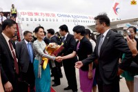State Counsellor Aung San Suu Kyi prepares to leave China on 21 August 2016. (Photo: Office of the State Counsellor)