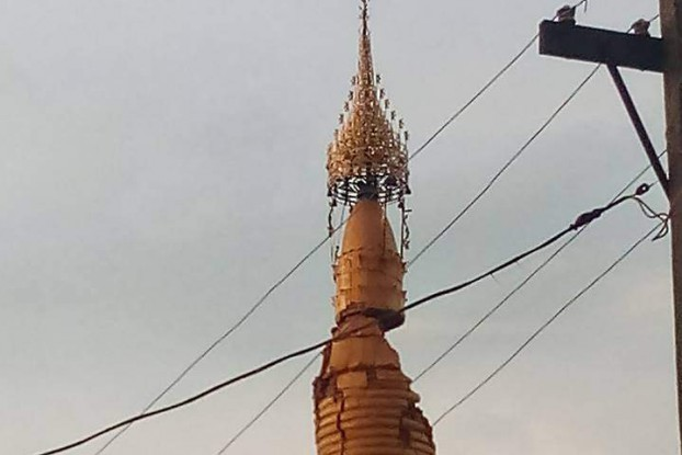 A pagoda in Pakokku, some 28 km northeast of Bagan, shows extensive damage after an aerthquake that struck central Burma on 24 August 2016. (Photo: DVB)