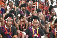 File photo of Naga people in traditional dress.