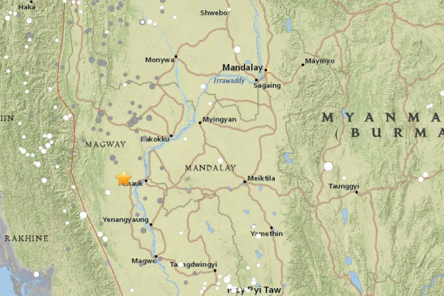 A map showing the epicenter of the earthquake that struck central Burma on 24 August 2016. (Image: earthquake.usgs.gov)