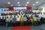 Participants in a four-day workshop on landmines in the Karen State capital Hpa-an pose for a group photo on 22 August 2016. (Photo: DVB)