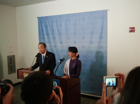 UN Secretary-General Ban Ki-moon addresses a press conference alongside Burma's State Counsellor Aung San Suu Kyi on 30 August 2016 in Naypyidaw. (PHOTO: UNIC)
