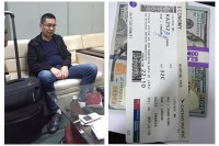 A Chinese national is being held on suspicion of robbing a fellow passenger on a Hong Kong to Rangoon flight on 14 August 2016. (PHOTO: Myanmar Aviation Police)
