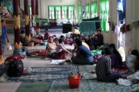 Displaced from their homes by floods, Hmawbi residents shelter at a local monastery. (PHOTO: DVB)
