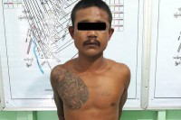 Thet Khine Win, 35, has been detained after running amok in Rangoon's South Dagon Township on 11 August 2016. (PHOTO: supplied to DVB)