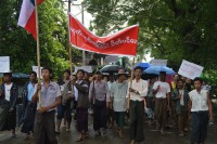 Hundreds of protestors in Taunggup call for the closure of bars and liquor stores on 10 August 2016, saying that drunkenness is becoming a serious social concern. (PHOTO: DVB)