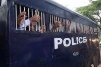 Student protestors are transported back to Thayarwady Prison after facing charges for their involvement in education reform protests in 2015. (PHOTO: DVB)