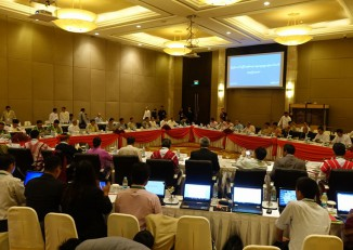 More than 40 delegates gather at the Union Peace Discussion Joint Committee meeting in Naypyidaw on 16 August 2016. (PHOTO: DVB)