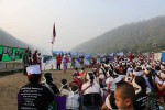 Anti-dam protesters gather on a bank of the Salween River on 14 March 2016. (Photo: Karen Rivers Watch)