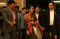State Counsellor Aung San Suu Kyi during a visit to Laos in May 2016. She will be returning to the country this week to attend a regional summit that will also include US President Barack Obama. (Photo: DVB)