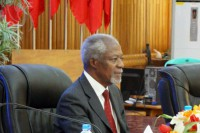 Kofi Annan, chairman of the Arakan State Advisory Commission, attends a meeting with community leaders and CSOs in Sittwe on 6 September 2016. (Photo: DVB)