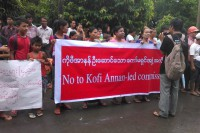 Protestors wait for the arrival of former UN chief Kofi Annan in the Arakan State capital of Sittwe on 6 September 2016. (Photo: DVB)