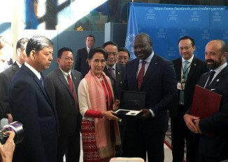 State Counsellor Aung San Suu Kyi deposits the articles of ratification of the CTBT at a ceremony at the UN headquarters in New York on 21 September 2016. (Photo: MOFA / Facebook)