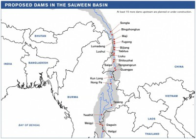 Map of dam projects on the Salween River. (www.internationalrivers.org)