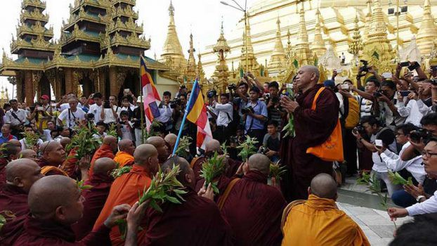 Ashin Sandar Thiri, a spokesman for monks marking the ninth anniversary of the Saffron Revolution in Rangoon, calls for the release of all remaining political prisoners. (PHOTO: DVB)