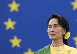 Then opposition leader Aung San Suu Kyi pictured on 22 October 2013 at the European Parliament in Strasbourg to receive the Sakharov Human Rights prize she won in 1990. (Photo: AFP)