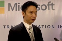 Sy Wann, Microsoft's new country manager for Burma, speaks to reporters at a press conference to unveil the company's new office in Rangoon on 20 September 2016. (Photo: DVB)