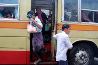 Sexual harassment is a serious problem for many riders using Rangoon's crowded buses. (Photo: Libby Hogan / DVB)