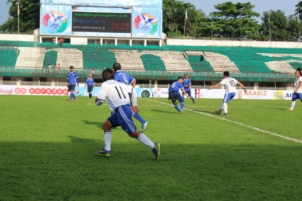 A football match between former political prisoners and artists was held at Aung San stadium on Saturday. (Photo: Libby Hogan /DVB)