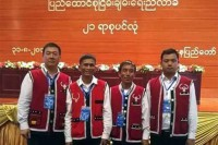 Wa delegates pose for a picture ahead of the opening ceremony of the Union Peace Conference. (PHOTO: DVB)