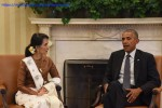 US President Barack Obama meets with Burmese leader Aung San Suu Kyi at the White House on 14 September 2016. (PHOTO: MoFA)