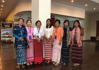 Representatives of Alliance for Gender Inclusion in the Peace Process wait outside the conference hall on the first day of the summit, 31 August 2016. (PHOTO: AGIPP)