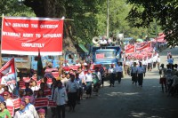 Protesters march through Myitkyina on 6 October 2016 to call for an end to the conflict in Kachin State. (Photo: Kachinwaves)