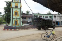 A Burmese army truck drives through Maungdaw on 10 October 2016. (Photo: DVB)